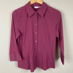Apt. 9 Mauve Stretch Button Down Size Large